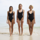 lilit a, maria ryabushkina, swimsuit, model, the gap, lip slip, beach, sea, tanned, black swimsuit, 3 girls wallpaper