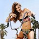 model, beauty, bike, summer, barbara palvin, palmtree wallpaper