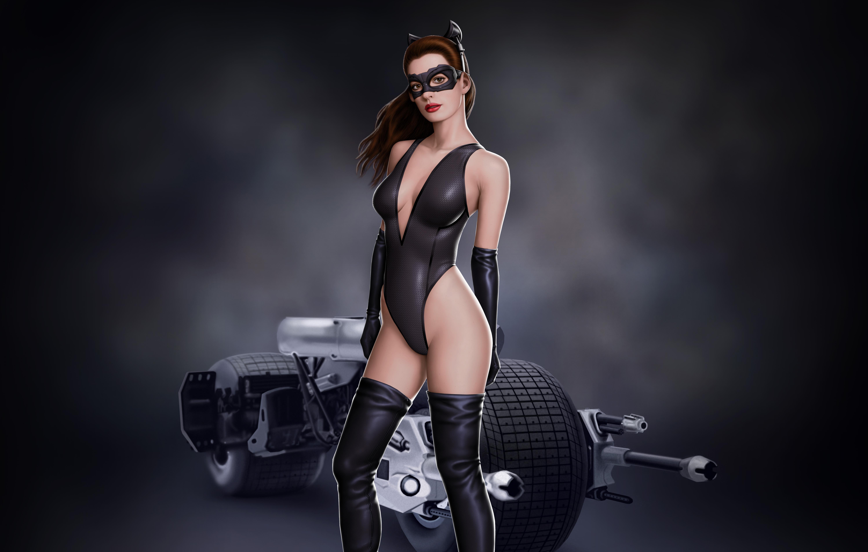 Anne Hathaway Porno download 5992x3809 art, bike, catwoman, anne, anne hathaway