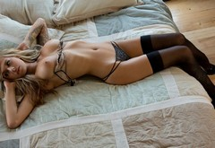 nude, black panties, emma mae, navel, black stockings, beds wallpaper