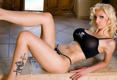 blonde, body, body, girl, tattoo, tattoo, laying, legs, Susan Wayland, tits, lies, ches wallpaper