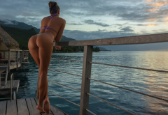 ass, bikini, thongs, long legs, sunset, water willa, sea wallpaper