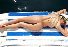 Khloe Terae, nude, blonde, model, Playboy, ass, long legs, sunbathing wallpaper