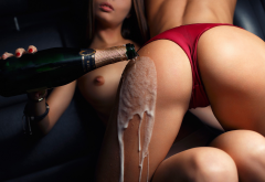 champagne, ass, tits, red panties, lesbians,  wallpaper