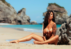 beatrice mary bexter, playboy, boobs, big tits, oiled, beach, sea, brunette wallpaper