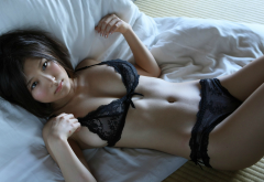 asian, sexy, japanese, in bed, lingerie, hot, panties, bra, brunette wallpaper