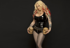 sabrina sabrok, skull, tattoo, blonde, latex, fetish, bullet wallpaper