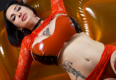 ariane-saint-amour, latex, big boobs, tattoo, fetish, red latex wallpaper