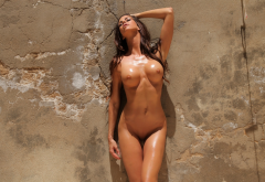 laura, oiled, naked, nude, tits. boobs, shaved, pierced pussy, brunette, wall wallpaper