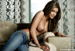 nancy lynn de ronde, playboy, brunette, topless, big tits, boobs, jeans wallpaper