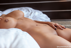 aleira avendano, playboy, big tits, fake boobs, hard nipples, nude, tanned, in bed, shaved pussy wallpaper