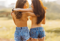 asian, couple, lesbians, jeans shorts, back, brunette, long hairs, sexy wallpaper