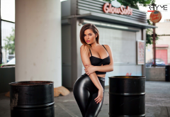 anastasiya kvitko, model, hips, boobs, leather pants, sensual gaze, black clothing, latex wallpaper