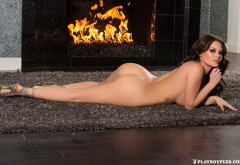 shelly lee, playboy, ass, tanned, naked, fireplace, brunette wallpaper