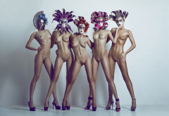 nude, tanned, group of women, boobs, belly, high heels, mask, nipples, shaved pussy, five girls, tits wallpaper