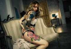 daria alekseevna, ass, couch, tattoo, lingerie, sitting wallpaper