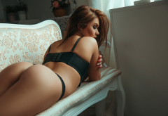 ass, couch, tanned, black lingerie, red nails wallpaper