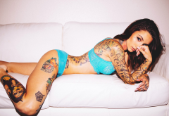lingerie, tattoo, ass, couch, tanned, brunette wallpaper