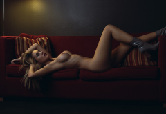 big tits, fake boobs, nipples, nakes, boots, tanned, couch, hot wallpaper