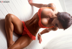 sabina magomedova, fitness body, tanned, lingerie, belly, couch, pierced navel, sitting, spoty wallpaper