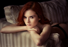 redhead, black panties, couch, portrait, face, ass wallpaper