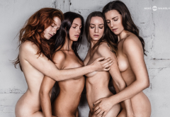 group, brunette, nude, tits, closed eyes, redhead, four wallpaper