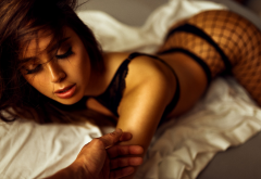 tanned, fishnet stockings, closed eyes, black lingerie, pov wallpaper