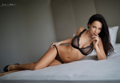 angelina petrova, see-through, lingerie, bra, brunette, in bed wallpaper