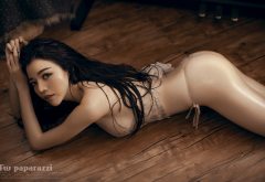 fw paparazzi, asian, lingerie, on the floor, ass, black hair, oiled wallpaper