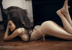 fw paparazzi, asian, lingerie, on the floor, ass, black hair, oiled, legs, sideboob wallpaper