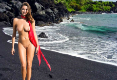 alyssa arce, smiling, naked, beach, sea, black sand, tits, boobs, shaved pussy, tanned wallpaper