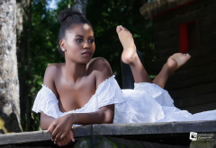 pedro francisco condss de la torre, barefoot, model, dark skin, sexy, white dress wallpaper