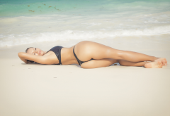 tanned, beach, outdoors, sea, ass, back, black bikini, closed eyes, wet wallpaper