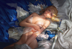 Fate, Stay Night, blonde, sword, boobs, saber, sexy, anime wallpaper