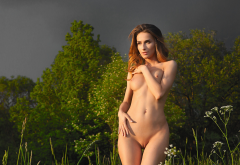 cara mell, shaved pussy, naked, brunette, boobs, labia, tits, outdoor wallpaper
