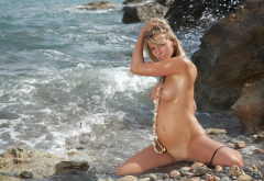 danae a, wet, naked, boobs, tits, sea, tanned, beach, shaved wallpaper