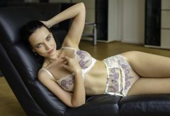 angelina petrova, lingerie, brunette, see-through, model, bra, panties wallpaper