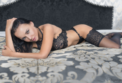 angelina petrova, model, black lingerie, brunette, in bed, see-through, black stockings wallpaper