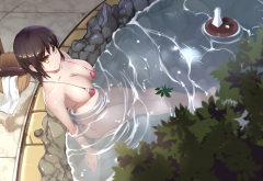 anime, busty, big tits, bathtub, pool, sauna, original characters, bikini, cleavage, yellow eyes wallpaper