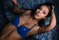 bikini top, tanned, top view, wet, wet hair, water, pool wallpaper