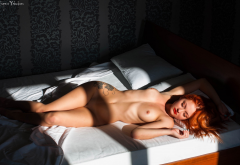 redhead, nude, red lipstick, in bed, hips, closed eyes, boobs, nipples, tits wallpaper