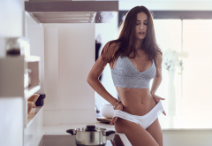 sexy belly, tanned, kitchen, underwear, lingerie, white panties wallpaper