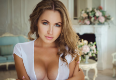 brunette, white top, blue eyes, cleavage, face, tanned, boobs, tits wallpaper