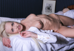 lena love, blonde, in bed, boobs, tits, blonde wallpaper