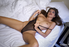 chiara bianchino, brunette, naked, tanned, boobs, tits, in bed, see-through, lingerie wallpaper