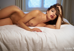 chiara bianchino, tanned, brunette, in bed, tits, naked, sexy, playboy wallpaper