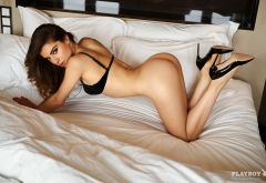 chiara bianchino, tanned, brunette, in bed, sexy, playboy, ass, doggy style, bra wallpaper