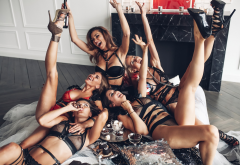 tanned, group of women, black lingerie, high heels, smiling, see-through, fetish, five wallpaper