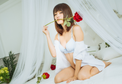 asian, kneeling, underwear, rose, flowers, bra, lingerie, brunette, in bed wallpaper