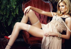 maggie grace, blonde, stockings, dress, fishnet, sexy legs wallpaper